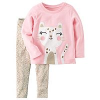 Baby Girl Carter's Embroidered Cheetah Top & Print Leggings Set