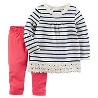 Baby Girl Carter's Striped Crochet Top & Leggings Set