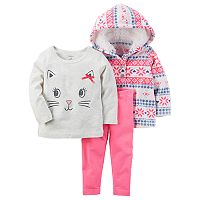 Baby Girl Carter's Kitten 3 pc Hoodie & Leggings Set