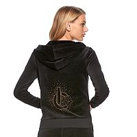 Women's Juicy Couture Embellished Graphic Velour Hoodie Jacket
