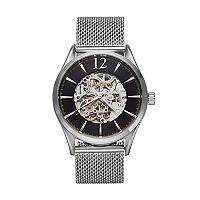 Armitron Men's Stainless Steel Mesh Automatic Skeleton Watch - 20/5237BKSV