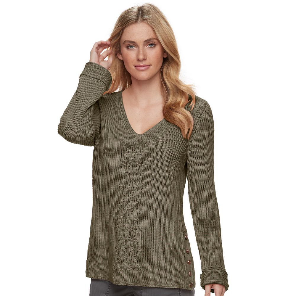 SONOMA Goods for Life™ Button Accent V-Neck Sweater