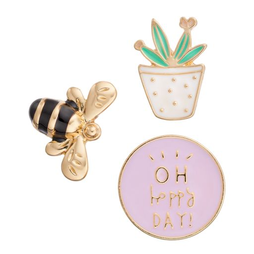 "LC Lauren Conrad Bee, Cactus & ""Oh Happy Day!"" Pin Set"