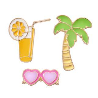 LC Lauren Conrad Palm Tree, Lemonade & Sunglasses Pin Set
