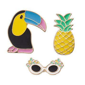 LC Lauren Conrad Toucan, Pineapple & Sunglasses Pin Set
