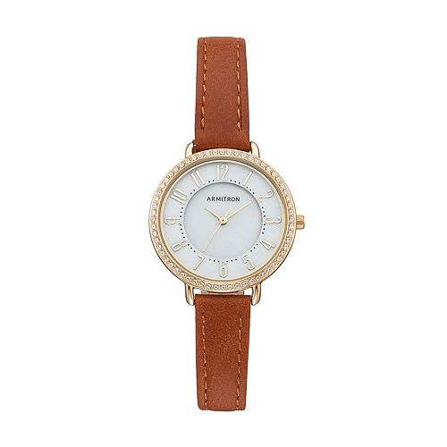 Armitron Women's Crystal Leather Watch - 75/5403MPGPBN