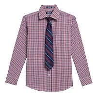 Boys 4-20 Chaps Plaid Shirt & Tie Set