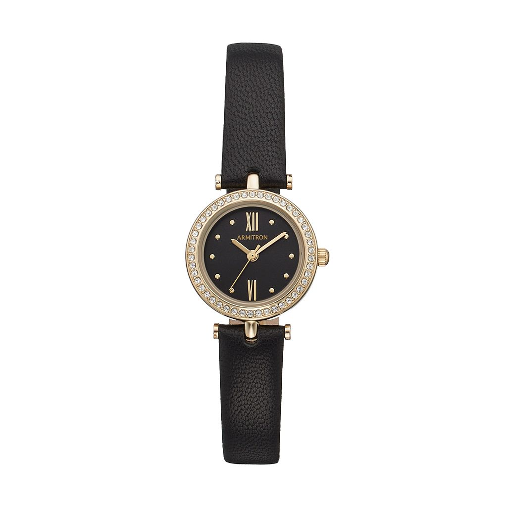 Armitron Women's Crystal Leather Watch - 75/5504BKGPBK