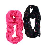 Girls 4-16 2-pk. Emoji Print & Open Knit Infinity Scarves