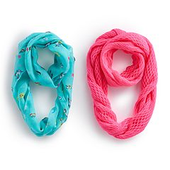 Girls 4-16 2-pk. Print & Solid Knit Infinity Scarves