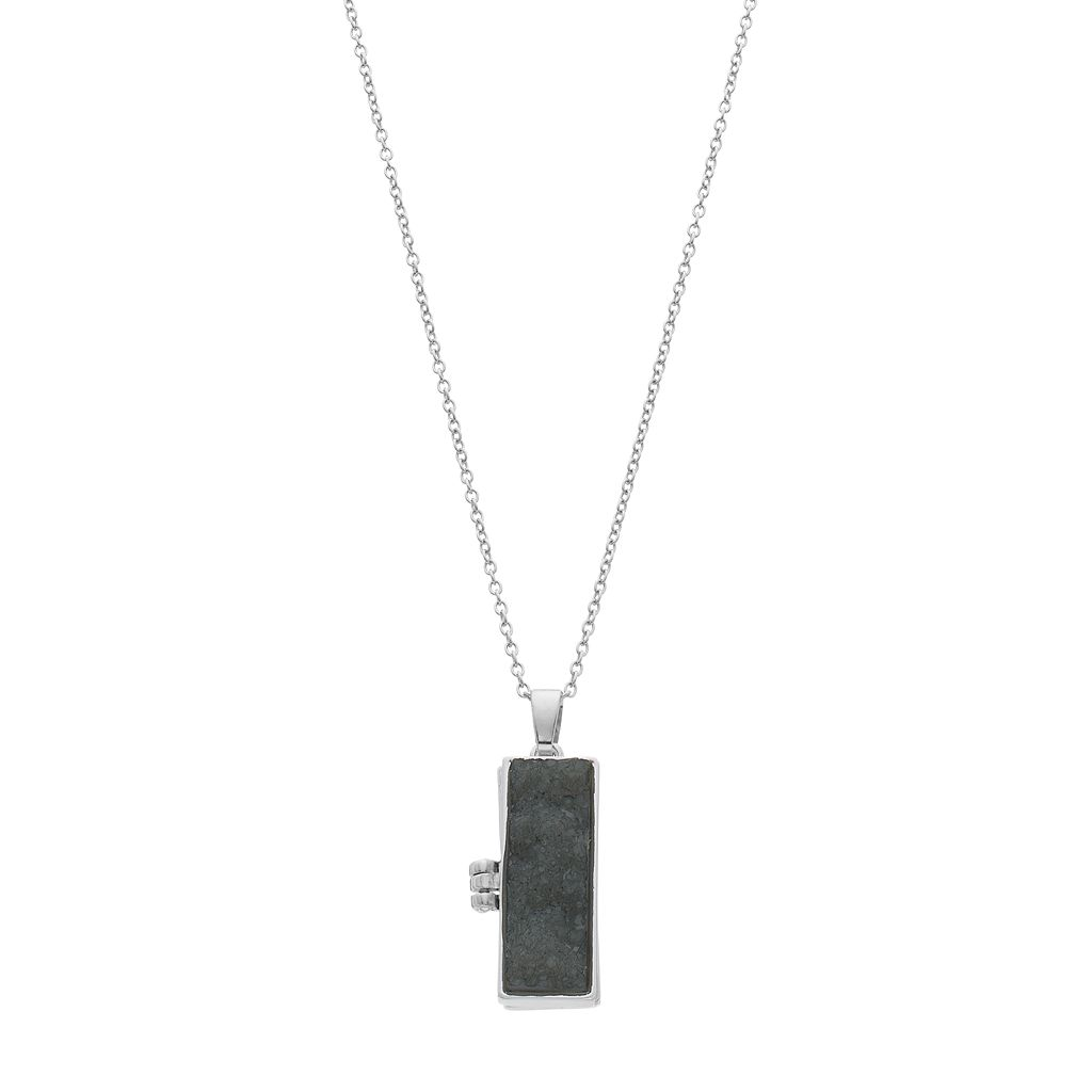 Rectangle Simulated Drusy Locket Necklace