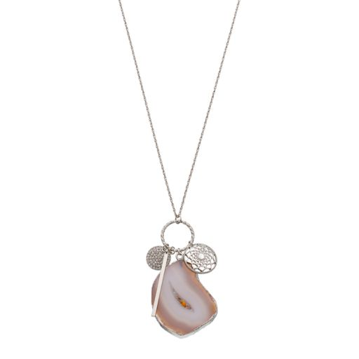 Simulated Agate & Dream Catcher Charm Necklace