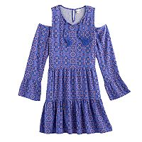 Girls 7-16 & Plus Size Mudd® Cold-Shoulder Bell Sleeve Patterned Dress