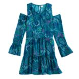 Girls 7-16 & Plus Size Mudd® Cold-Shoulder Bell Sleeve Patterned Dress
