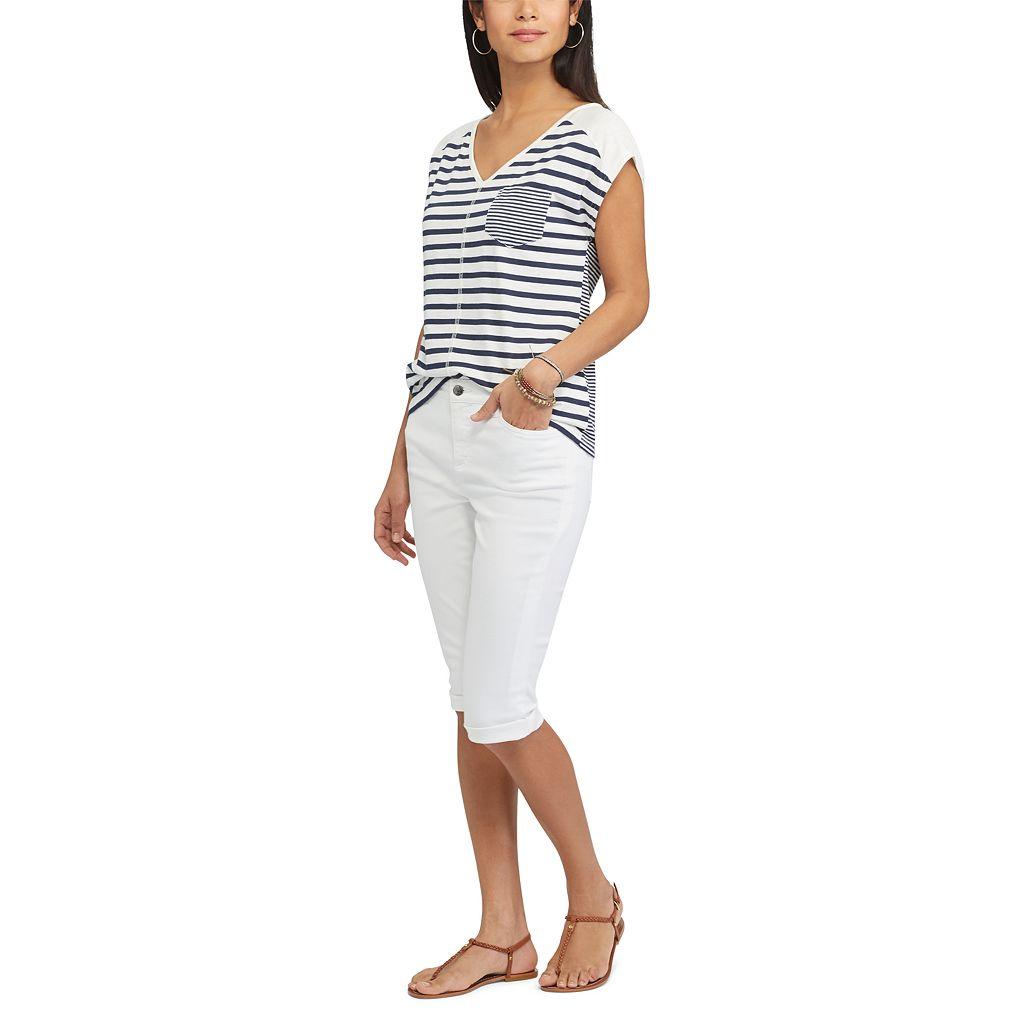 Women's Chaps Striped Pocket Tee