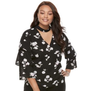 Juniors' Plus Size Candie's® Floral Ruffle Choker Top