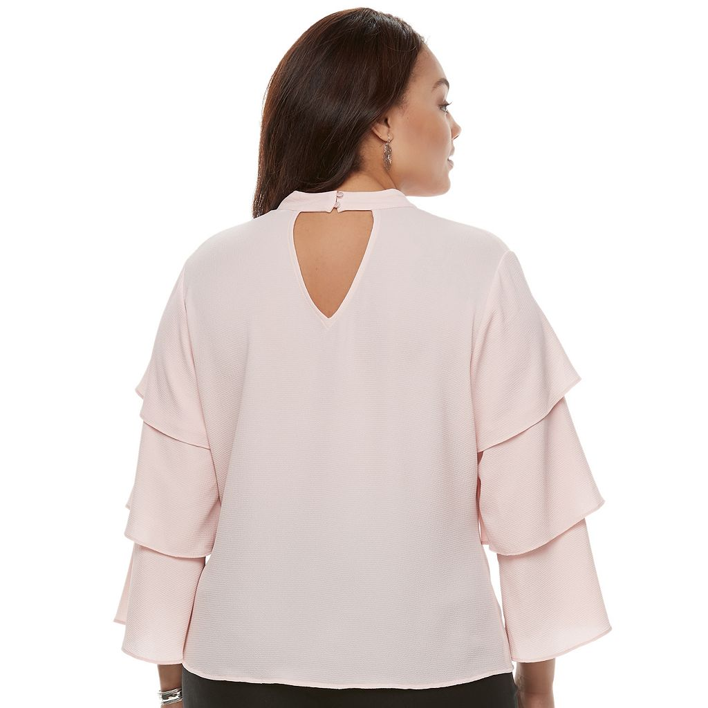 Juniors' Plus Size Candie's® Ruffle Sleeve Choker Top