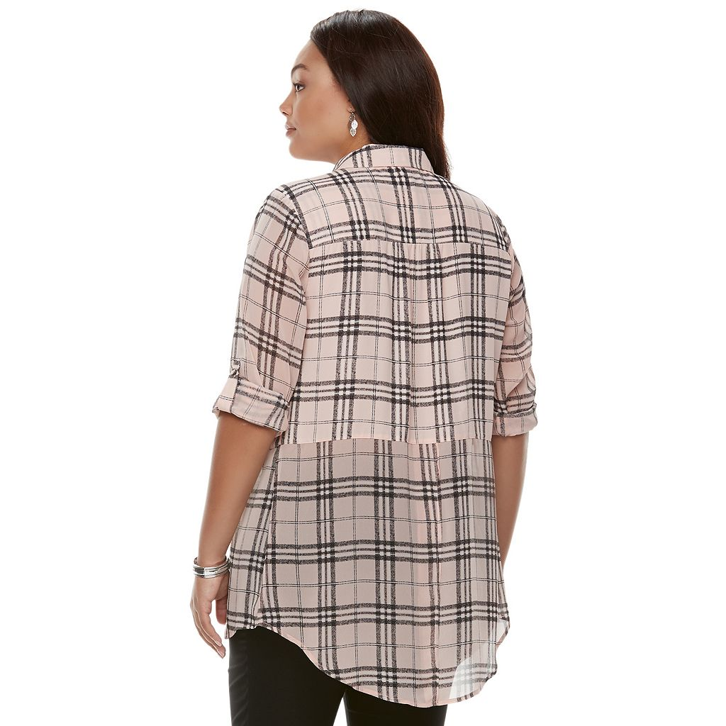 Juniors' Plus Size Candie's® Plaid Mixed Media Shirt