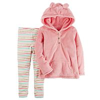 Baby Girl Carter's 3D Ear Sherpa Hoodie & Striped Leggings Set