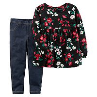 Baby Girl Carter's Floral Poplin Top & Faux-Denim Leggings Set
