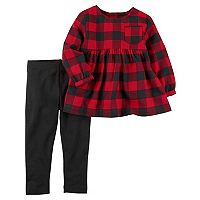 Toddler Girl Carter's Buffalo Check Tunic Top & Leggings Set