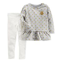Baby Girl Carter's Polka-Dot Owl Peplum Top & Leggings Set