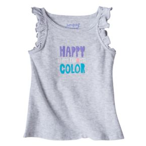 "Baby Girl Jumping Beans® ""Happy Is My Favorite Color"" Glittery Graphic Tank Top"