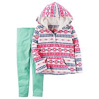 Baby Girl Carter's Fleece Fairisle Hoodie & Mint Leggings Set