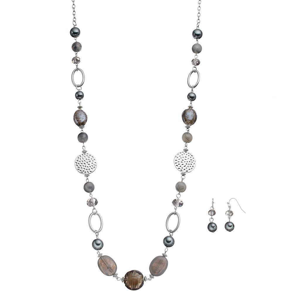 Long Gray Beaded Necklace & Linear Drop Earring Set