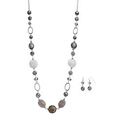 Long Gray Beaded Necklace & Linear Drop Earring Set