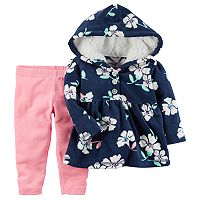 Baby Girl Carter's Fleece Floral Hoodie & Pink Leggings Set