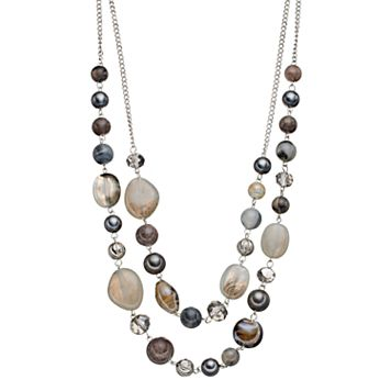Gray Beaded Double Strand Necklace