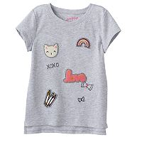 Toddler Girl Jumping Beans® Patch High-Low Hem Tee