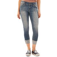 Juniors' Wallflower Luscious Curvy Cuffed Crop Skinny Jeans