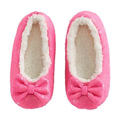 Girls 4-16 Berber Fleece-Lined Sequin Slippers