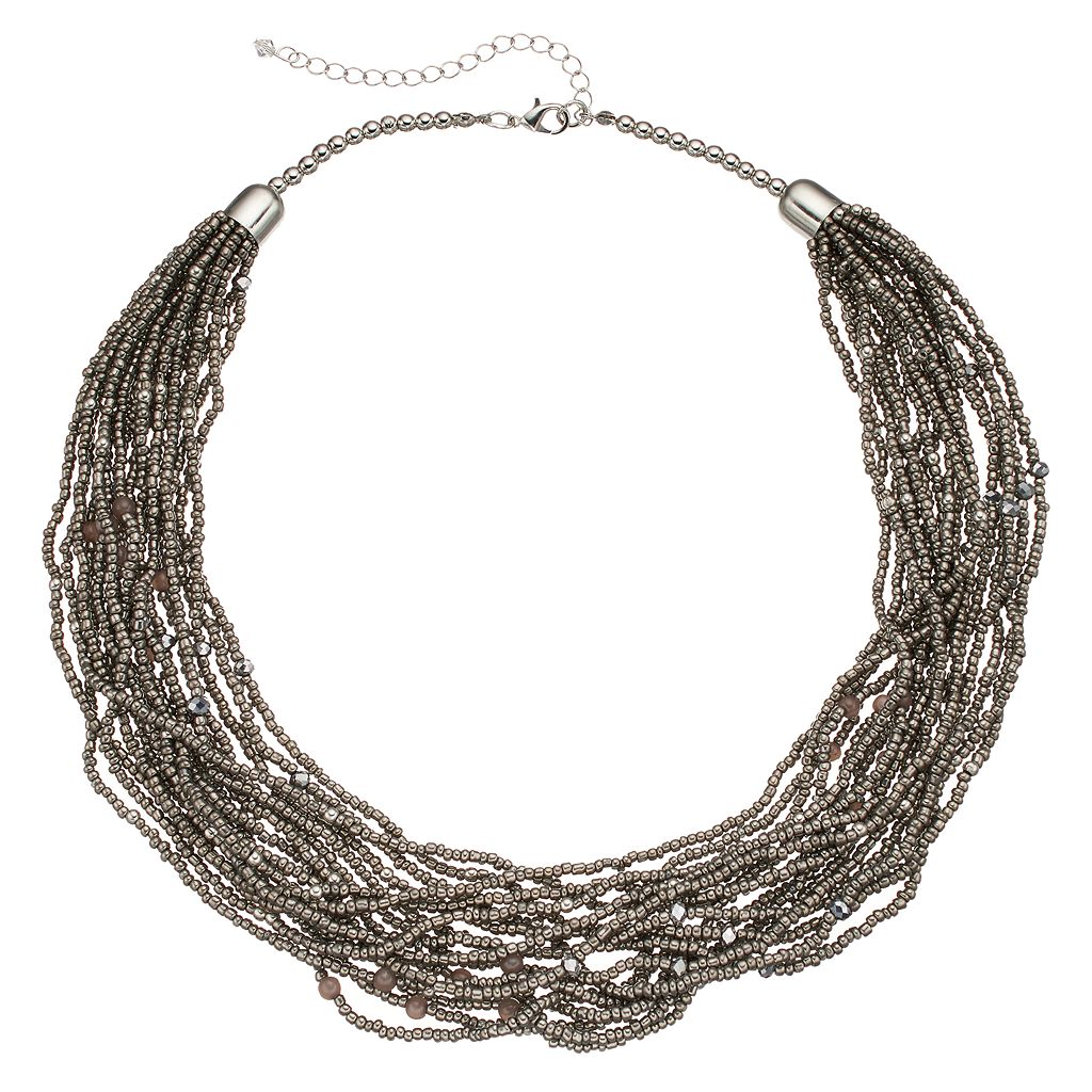 Gray Seed Bead Chunky Necklace