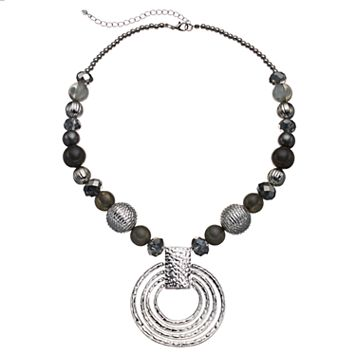 Gray Beaded Textured Circle Pendant Necklace