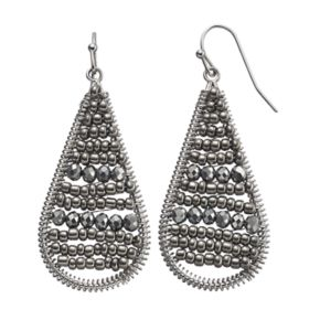 Gray Seed Bead Woven Nickel Free Teardrop Earrings