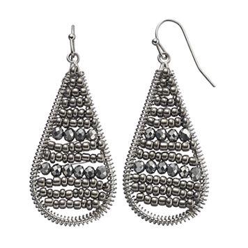 Gray Seed Bead Woven Nickel Free Teardrop Earrings