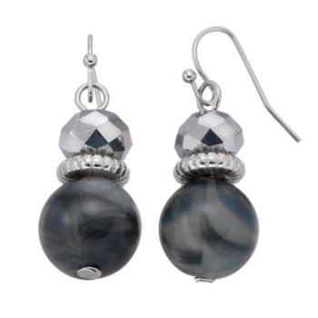 Gray Marbled Bead Nickel Free Linear Drop Earrings