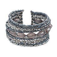 Seed Bead Multi Row Cuff Bracelet