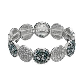Seed Bead & Textured Disc Stretch Bracelet