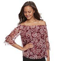 Juniors' IZ Byer Floral Off-The-Shoulder Top