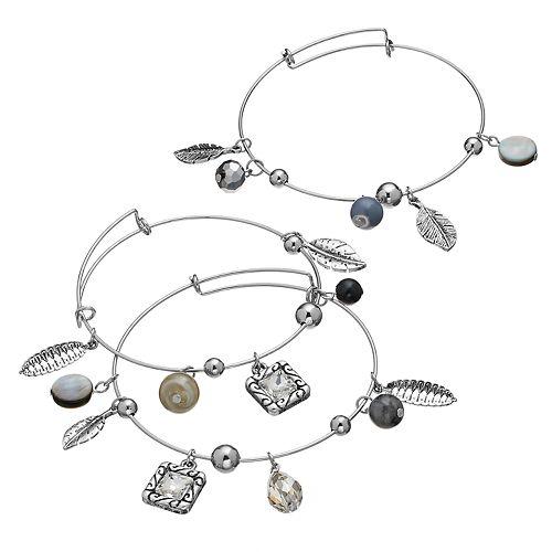 Feather Charm Adjustable Bangle Bracelet Set