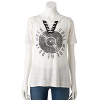 Women's Rock & Republic® Lace-Up Graphic Tee