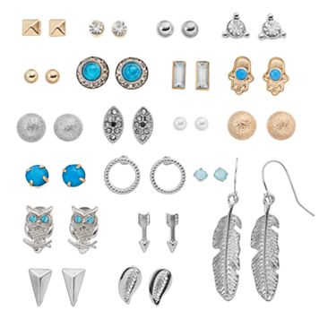 Mudd® Owl, Feather & Hamsa Nickel Free Earring Set