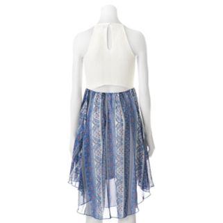 Juniors' Almost Famous Lace & Print Halter Dress