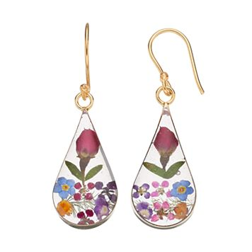 14k Gold Over Silver Pressed Flower Teardrop Earrings