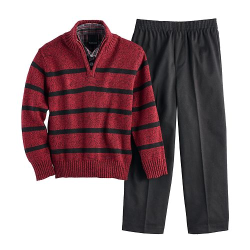 Boys 4-7 Van Heusen Striped Sweater, Shirt & Pants Set