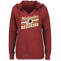 Plus Size Majestic Washington Redskins Notched Hoodie